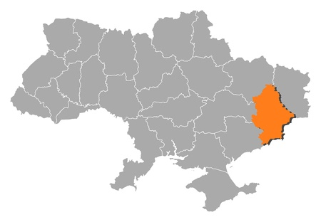 Political map of Ukraine with the several oblasts where Donetsk is highlighted. Vector