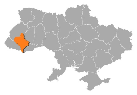 Political map of Ukraine with the several oblasts where Ivano-Frankivsk is highlighted. Vector