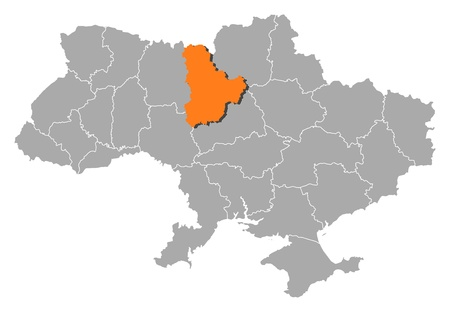 Political map of Ukraine with the several oblasts where Kiev is highlighted. Vector