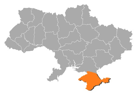 emphasize: Political map of Ukraine with the several oblasts where Crimea is highlighted. Illustration