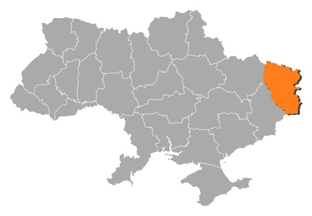where: Political map of Ukraine with the several oblasts where Luhansk is highlighted.