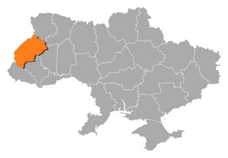 Political map of Ukraine with the several oblasts where Lviv is highlighted. Vector