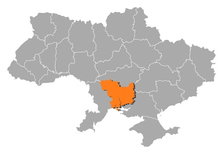 Political map of Ukraine with the several oblasts where Mykolaiv is highlighted. Vector