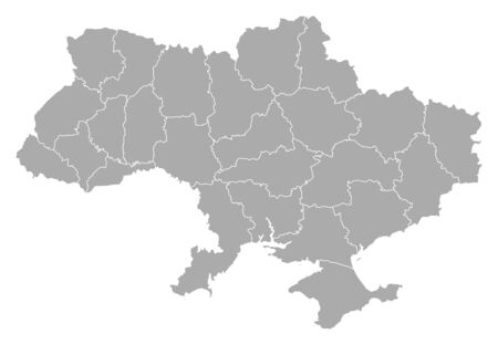 Political map of Ukraine with the several oblasts. Vector