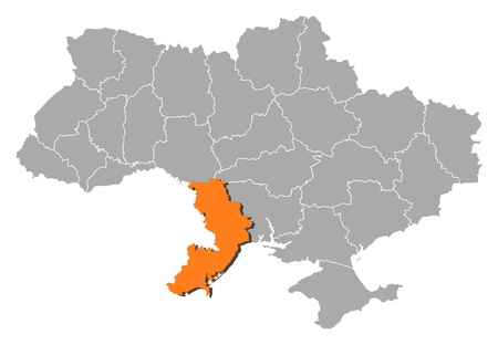 Political map of Ukraine with the several oblasts where Odessa is highlighted. Vector