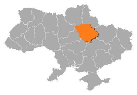 Political map of Ukraine with the several oblasts where Poltava is highlighted. Vector