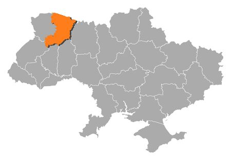 Political map of Ukraine with the several oblasts where Rivne is highlighted. Vector