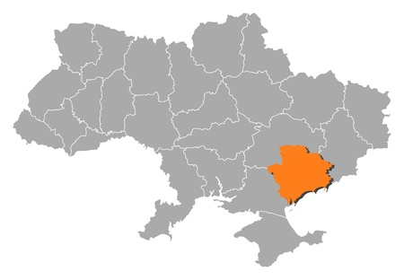 Political map of Ukraine with the several oblasts where Zaporizhia is highlighted. Vector