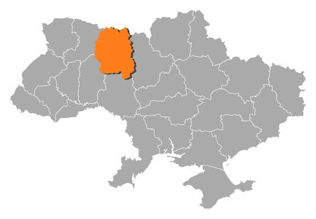 Political map of Ukraine with the several oblasts where Zhytomyr is highlighted. Vector
