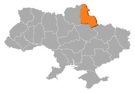 Political map of Ukraine with the several oblasts where Sumy is highlighted. Vector