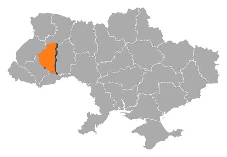 Political map of Ukraine with the several oblasts where Ternopil is highlighted. Vector