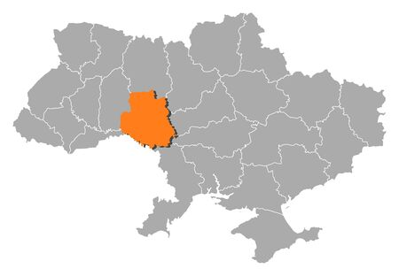 Political map of Ukraine with the several oblasts where Vinnytsia is highlighted. Vector
