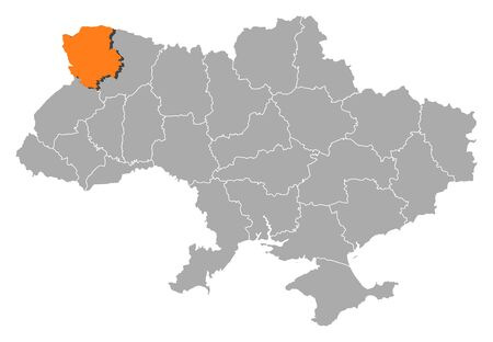 Political map of Ukraine with the several oblasts where Volyn is highlighted. Vector