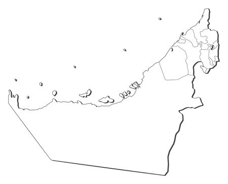Political map of the United Arab Emirates with the several emerats. Vector