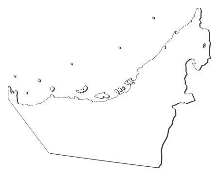 southwestern asia: Political map of the United Arab Emirates with the several emerats.