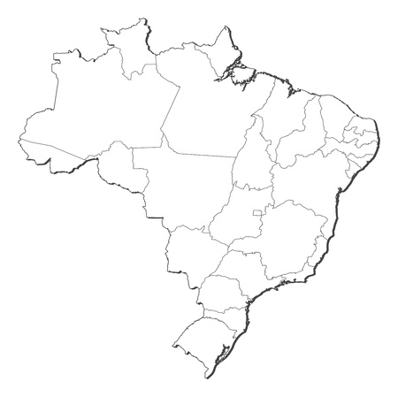 brazil symbol: Political map of Brazil with the several states.