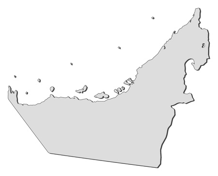 western asia: Political map of the United Arab Emirates with the several emerats.