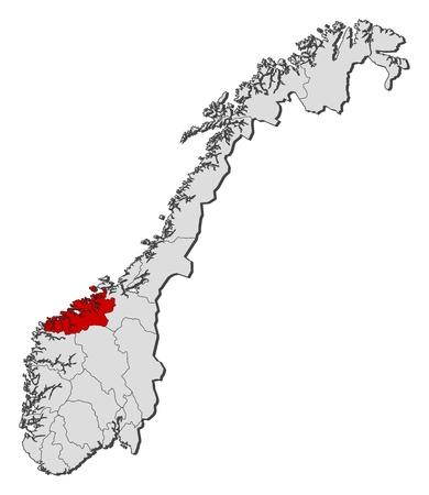 highlighted: Mappa politica della Norvegia con le diverse contee in cui � evidenziato Mre og Romsdal.