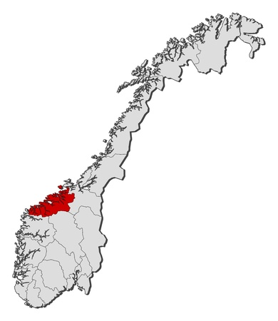 shady: Political map of Norway with the several counties where M�re og Romsdal is highlighted.