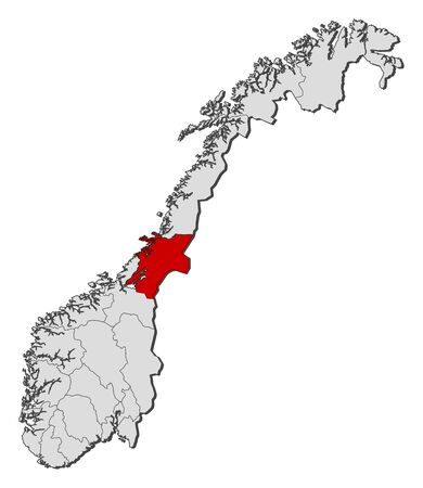 Political map of Norway with the several counties where Nord-Trøndelag is highlighted.