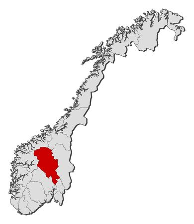Political map of Norway with the several counties where Oppland is highlighted.