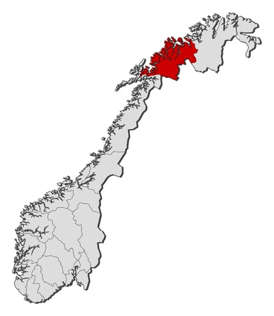Political Map Of Norway With The Several Counties Where Troms - Norway map counties