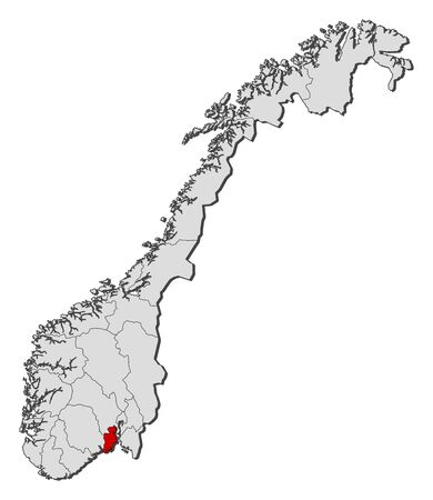 Political map of Norway with the several counties where Vestfold is highlighted.