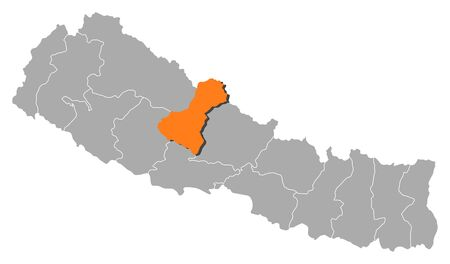 zones: Political map of Nepal with the several zones where Dhawalagiri is highlighted.