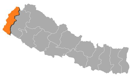 zones: Political map of Nepal with the several zones where Mahakali is highlighted.