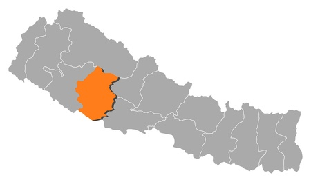 zones: Political map of Nepal with the several zones where Rapti is highlighted. Illustration