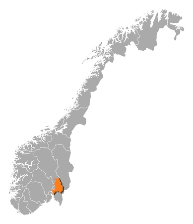 Political map of Norway with the several counties where Akershus  is highlighted.