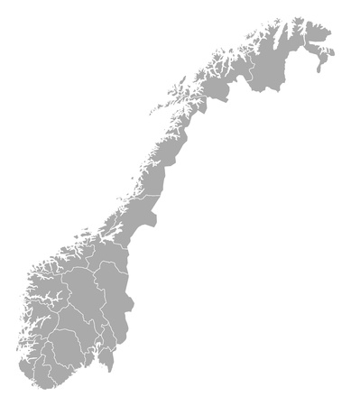 subdivisions: Political map of Norway with the several counties. Illustration