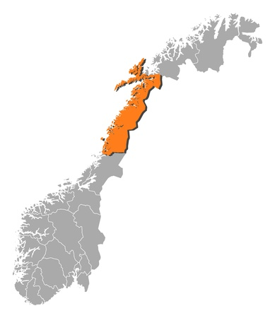 counties: Political map of Norway with the several counties where Nordland is highlighted. Illustration