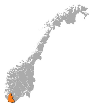 counties: Political map of Norway with the several counties where Vest-Agder is highlighted.