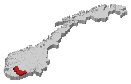 counties: Political map of Norway with the several counties where Aust-Agder is highlighted.