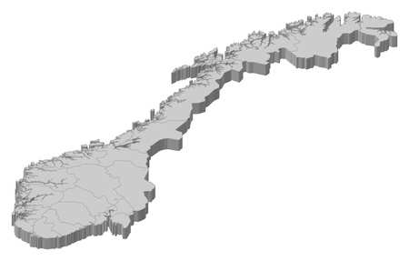 counties: Political map of Norway with the several counties. Illustration