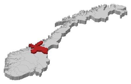counties: Political map of Norway with the several counties where Sor-Trondelag is highlighted.