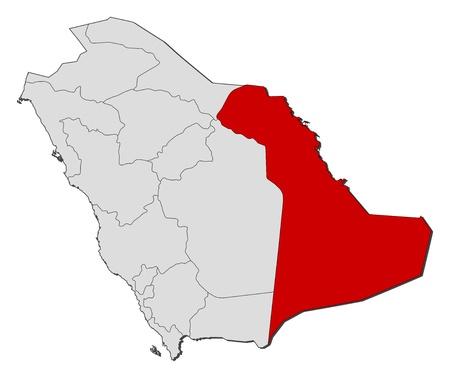 bundesl�nder: Politische Karte von Saudi-Arabien mit den verschiedenen Provinzen, in denen Eastern Province markiert ist. Illustration