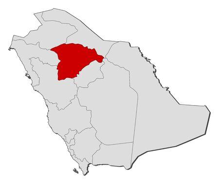 granizo: Mapa pol�tico de Arabia Saudita con las distintas provincias, donde se destaca Hail.