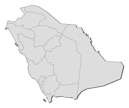 mapa politico: Mapa pol�tico de Arabia Saudita con las distintas provincias. Vectores