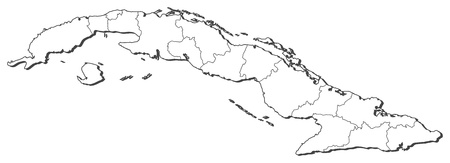 middle america: Political map of Cuba with the several provinces. Illustration