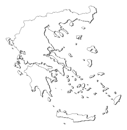 Political map of Greece with the several states. Ilustração