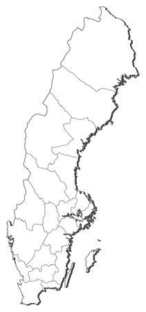 Political map of Sweden with the several provinces.
