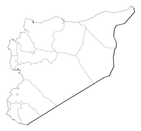 southwestern asia: Political map of Syria with the several governorates. Illustration