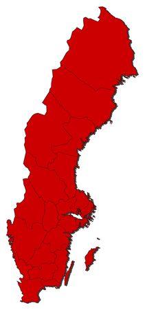 sverige: Political map of Sweden with the several provinces.