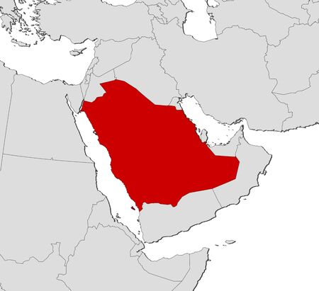 southwest asia: Political map of Saudi Arabia with the several provinces.