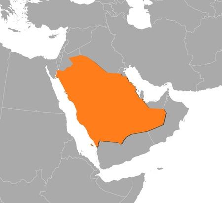 La carte politique de l'Arabie saoudite avec les provinces plusieurs. Banque d'images - 11451884
