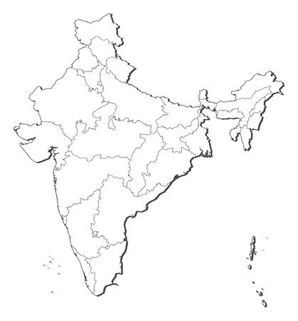 mapa politico: Mapa pol�tico de la India con los diversos estados. Vectores