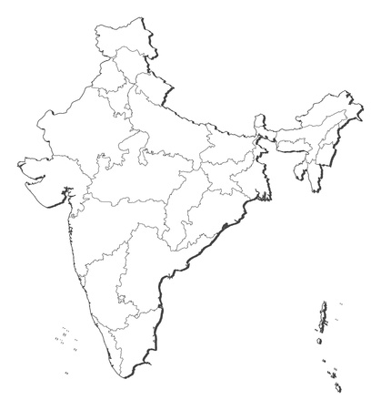 Political map of India with the several states. Vector