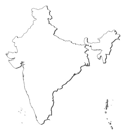 outline red: Political map of India with the several states.